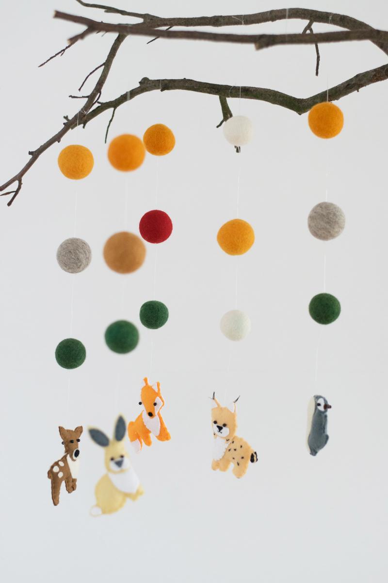 Baby Filz Mobile Waldtiere Zum Selberbasteln Anleitung Fur Ein
